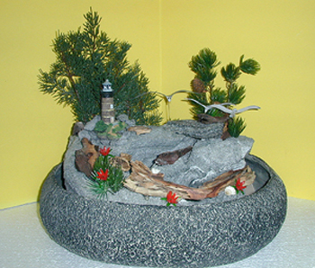 Superior Miniature Light House And Driftwood Tabletop Fountain