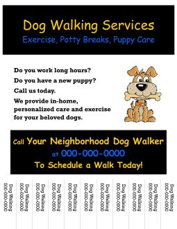 Start your own small business with professional business for Dog walking flyer template free