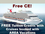 FREE tuition course credits for ANY course when you book any cruise through AREA Vacations