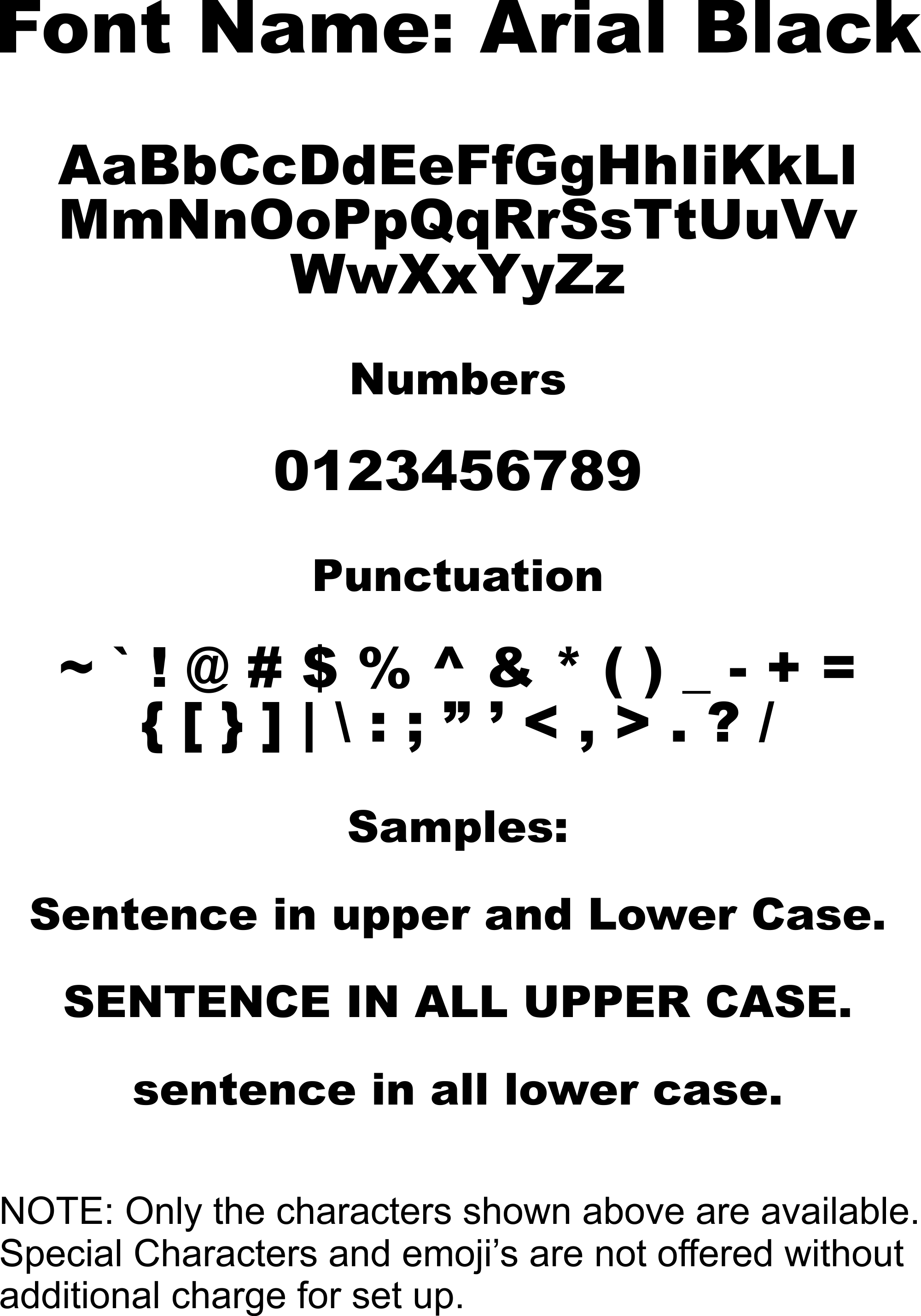 Arial Font Lowercase
