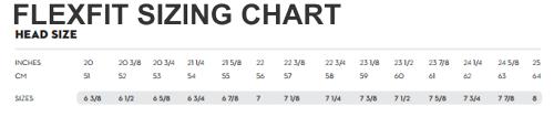 FLEXFIT SIZING CHART FROM TEAMLOGO.COM