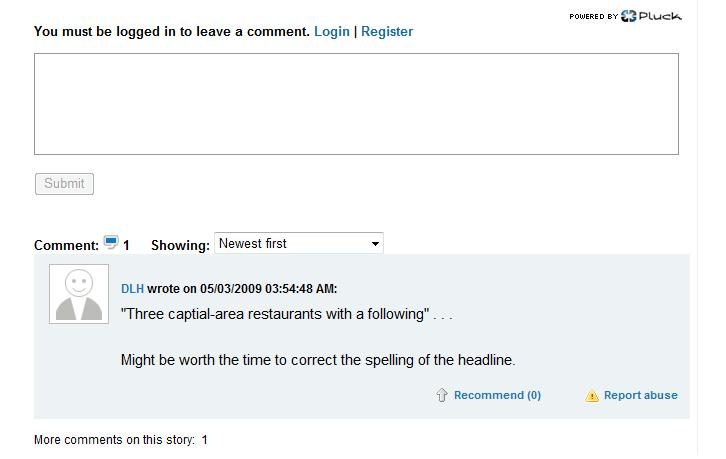 Here is the first comment somebody posted concerning the above Bee article...