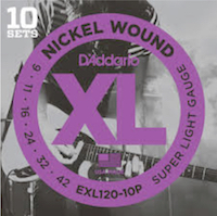 10 pack - D'Addario EXL120 Nickel Wound Super Light Electric Strings