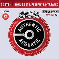 Martin MA540T Authentic Acoustic Treated Light Strings Promo 3pk - 3 sets for the price of 2!