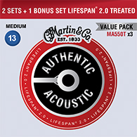 Martin MA550T Authentic Acoustic Treated Medium Strings Promo 3pk - 3 sets for the price of 2!