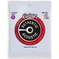 Martin MA175T Authentic Acoustic Strings - Lifespan 2.0 Treated 80/20 Bronze Custom Light