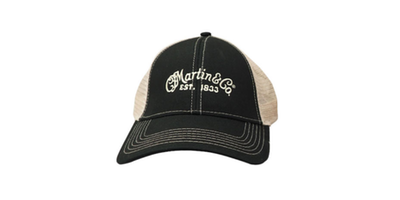 Mesh Trucker Hat with CFM Logo - Black with Tan Mesh