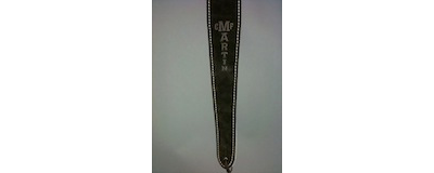 2.5 inch Martin black suede guitar strap with C.F. Martin Guitar logo