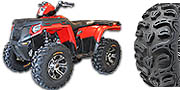 "Kenda Bearclaw HTR Kit pictured 26"" HTRs with SS212 machine wheels on a Polaris Sportsman 800"
