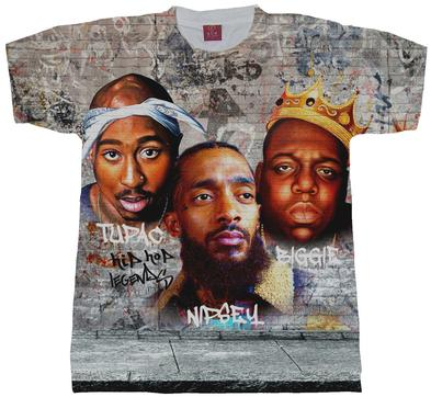 ef8480f9 Rap Legends Nipsey Hussle, Tupac Shakur and Biggie Smalls Graffiti Collage  T_Shirt. (RAP LEGENDS SUB)