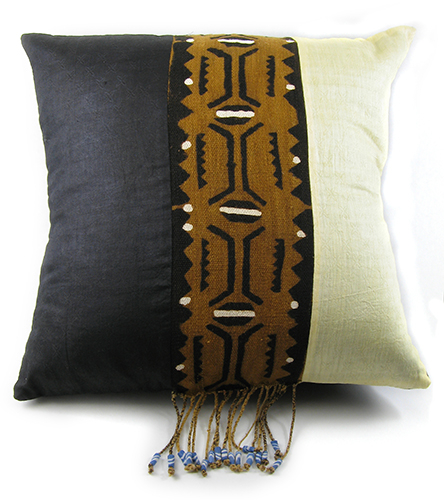 Malian Ebony and Ivory Mudcloth Pillow