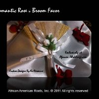 Satin Rose Wedding Broom Favor