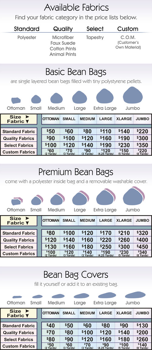 Heavenly Bean Bags Pricelist