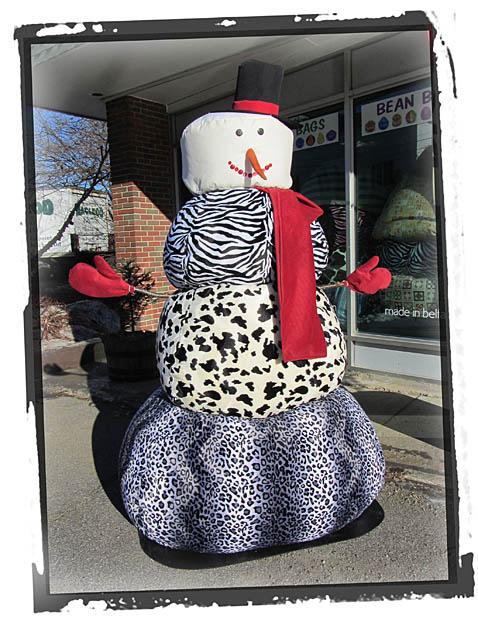 Snowman Animal Print Bean Bags