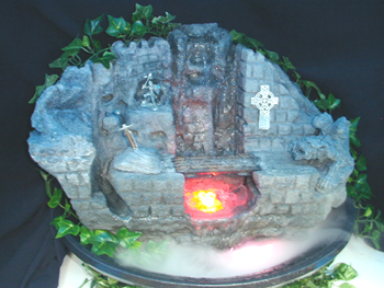 Medieval Tabletop Fountain with Knight, Sword in Stone, draw bridge and Gargoyle