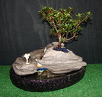 Azalea Illuminated Water Fall Bonsai Fountain