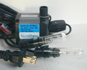 Small fountain pump with 2 lights, Fountain Pro WT-90-LL-SW Pump