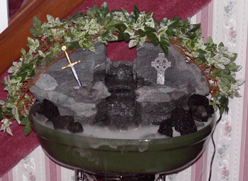 Celtic Cross and Sword in Stone Fountain
