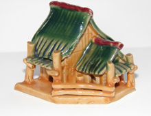 Oriental hut for tabletop fountain decoration | Glazed Chinese hut