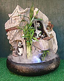 Lucky Bamboo & Panda Bear Fountain