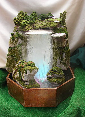 Large water fall table top fountain with lights and smoke