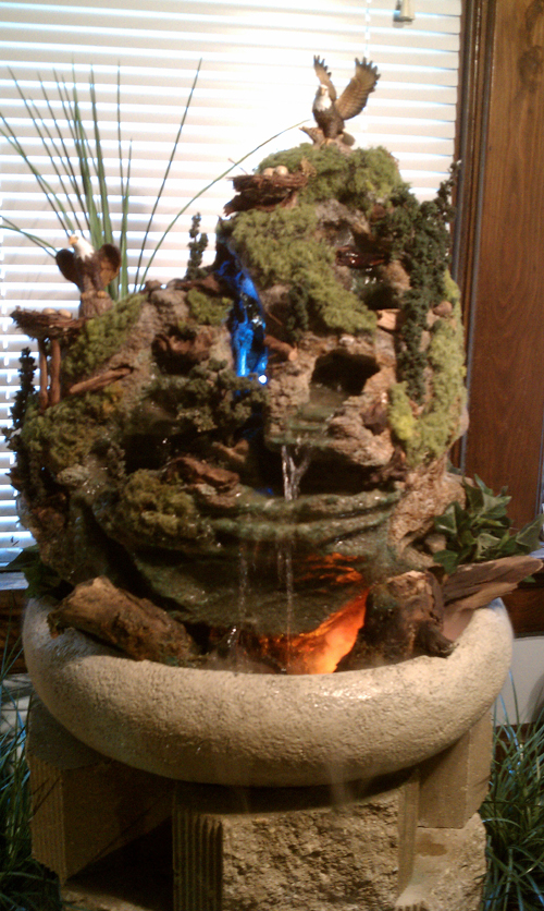 Double water fall with Lights, eagles, driftwood, moss and fog
