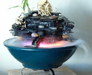 Slate tier with pool oriental fogging tabletop fountain