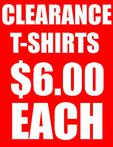 Clearance T-shirts $6.00 each